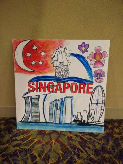 The placard made by the SG team to introduce SG at the opening ceremony