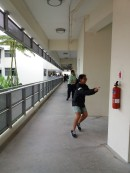 Athletic Sector Head Perry gives chase as one of the suspects was spotted along Oculus corridors.